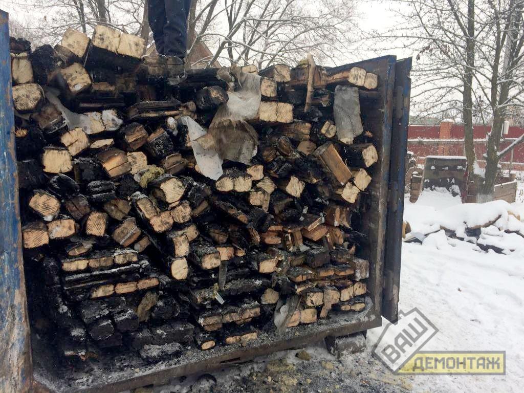 Демонтаж дома после пожара, Раменский район 07